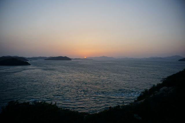 来島海峡大橋から見る日没1