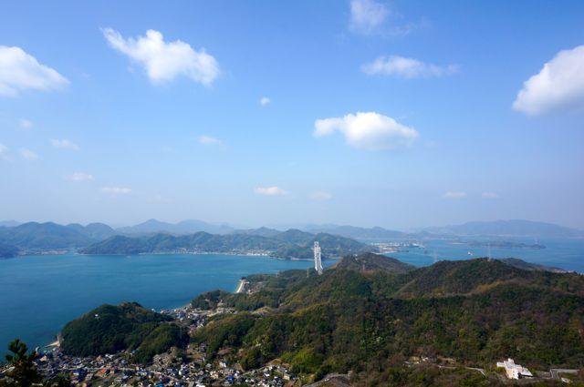 向島・高見山から見た因島大橋