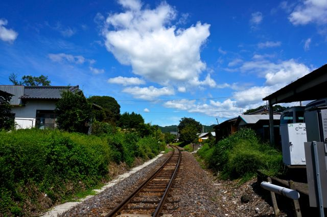 山方宿駅近くの水郡線線路